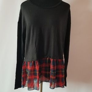 NWT long sleeve top w/ plaid chiffon ruffle